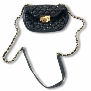 Treesje Black Quilted Gold Studded Crossbody Bag